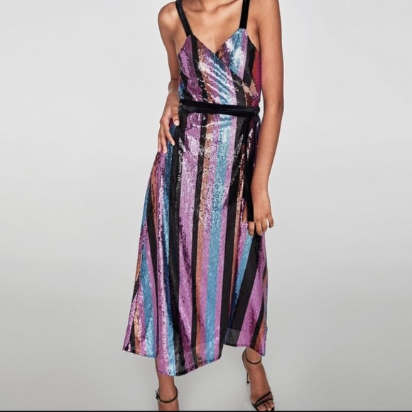 c04b35615043 Zara Dresses | Striped Sequin Wrap Dress | Poshmark